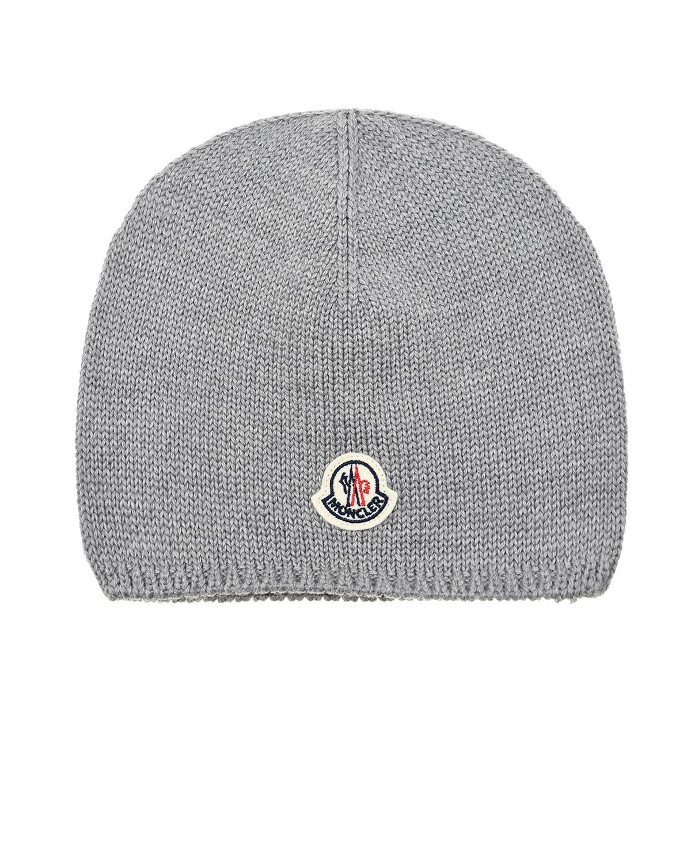 Купить Серая шапка из шерсти Moncler детская, Серый, 100%шерсть