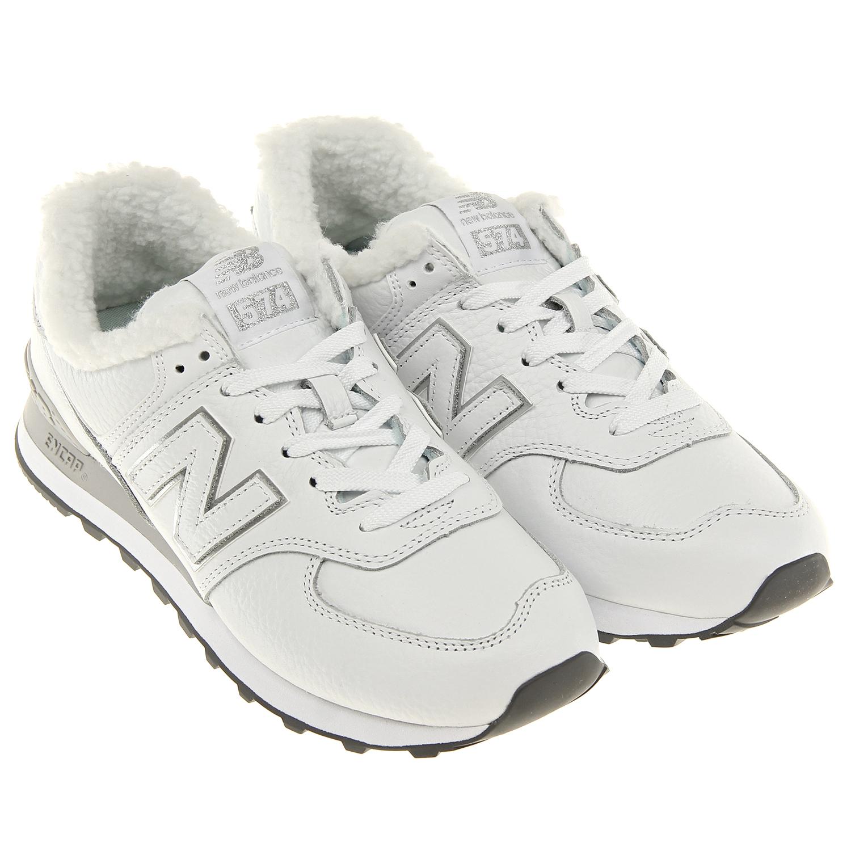 Купить Утепленные кроссовки 574 Classic NEW BALANCE детские, Белый, верх:92%нат.кожа+8%полиуретан, подкладка:100%хлопок, подошва:100%полимерные материалы(резина)