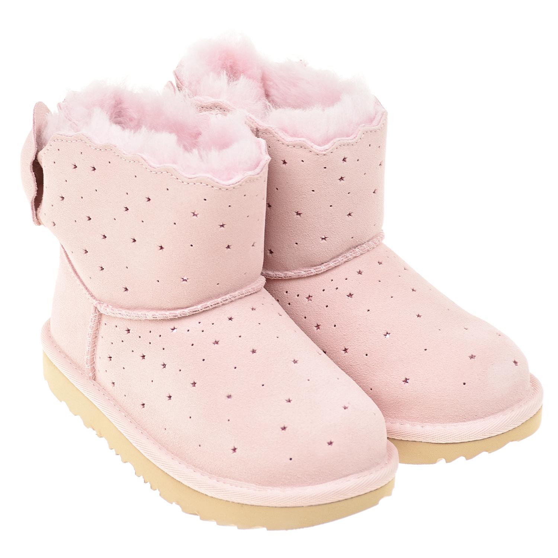 Купить Розовые угги с перфорацией UGG детские, Розовый, верх:100%нат.кожа, подкладка:80%шерсть+20%лиоцелл, 100%полиэстер, подошва:100%полимерные материалы