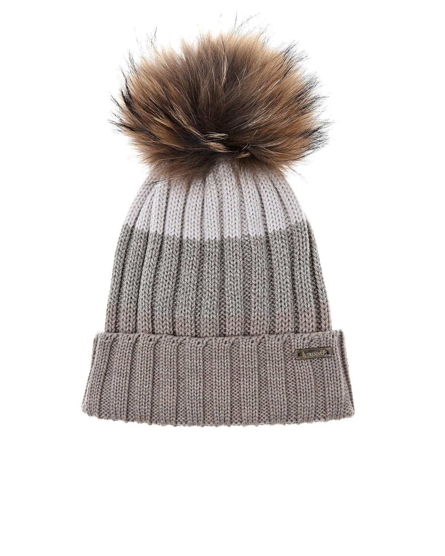 Купить Трехцветная шапка с помпоном Il Trenino детская, Бежевый, 100%шерсть, нат.мех енота