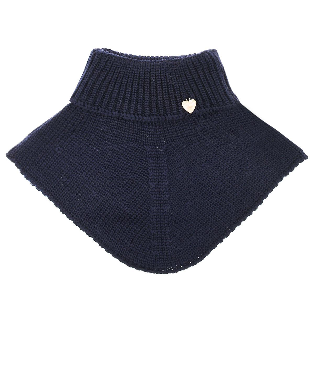 Темно-синий шарф-ворот из шерсти Il Trenino детское фото
