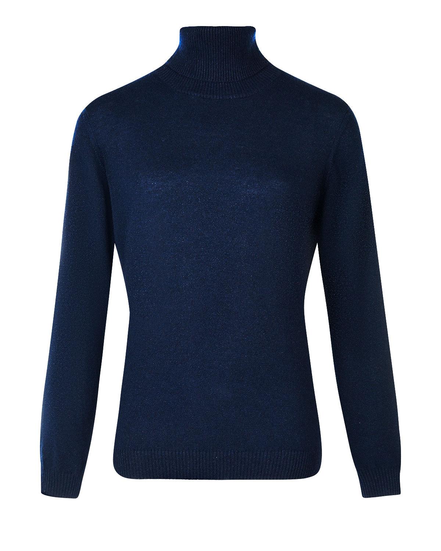 Купить Синяя водолазка с люрексом Arc-en-ciel, Черный, 42%шерсть+28%вискоза+14%полиамид+9%лайкра+7%кашемир