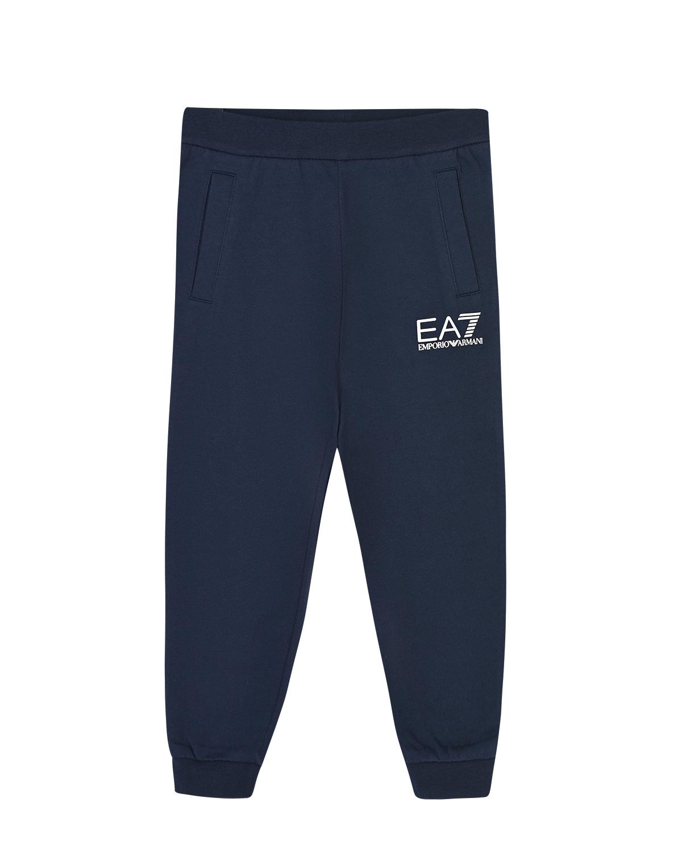 Купить Синие спортивные брюки с логотипом EA7 детские, Синий, 100%хлопок, 97%хлопок+3%эластан