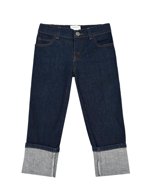 Купить Синие джинсы с отворотами GUCCI детские, Синий, 98%хлопок+2%эластан, 100%полиэстер, 100%хлопок