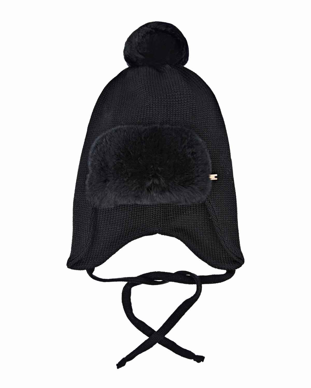 Купить Черная шапка с отделкой из меха Il Trenino детская, Черный, 100%шерсть, нат.мех кролика рекс