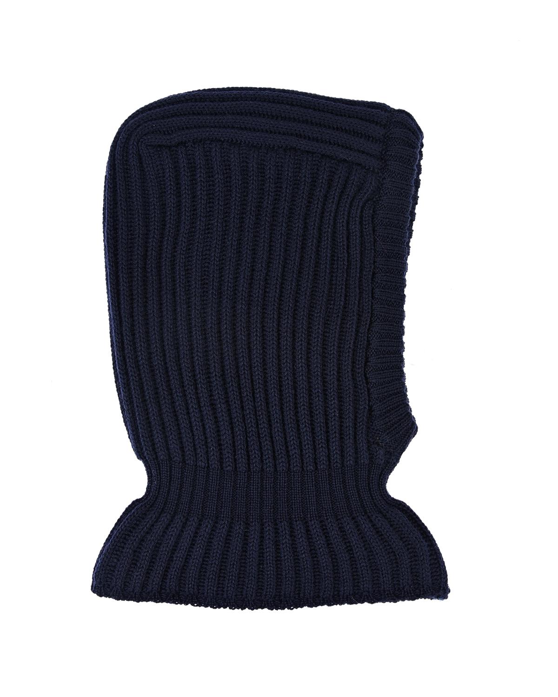 Купить Черная шапка-шлем из шерсти Il Trenino, Синий, 100%шерсть