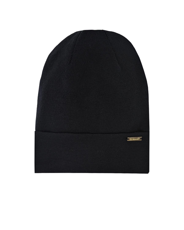 Купить Черная шапка с отворотом Il Trenino детская, Черный, 100%шерсть