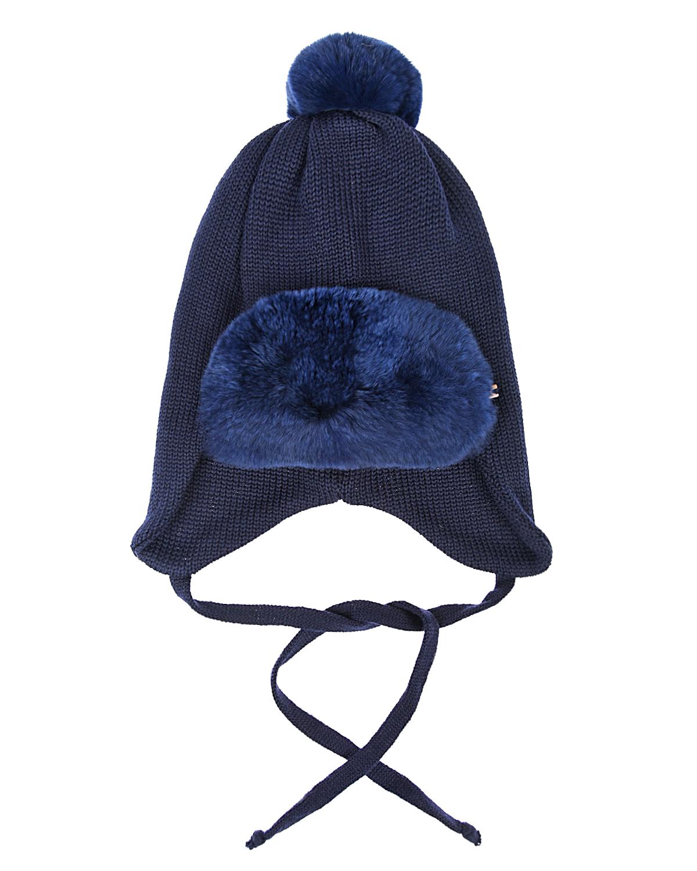 Синяя шапка с меховой отделкой Il Trenino детская фото