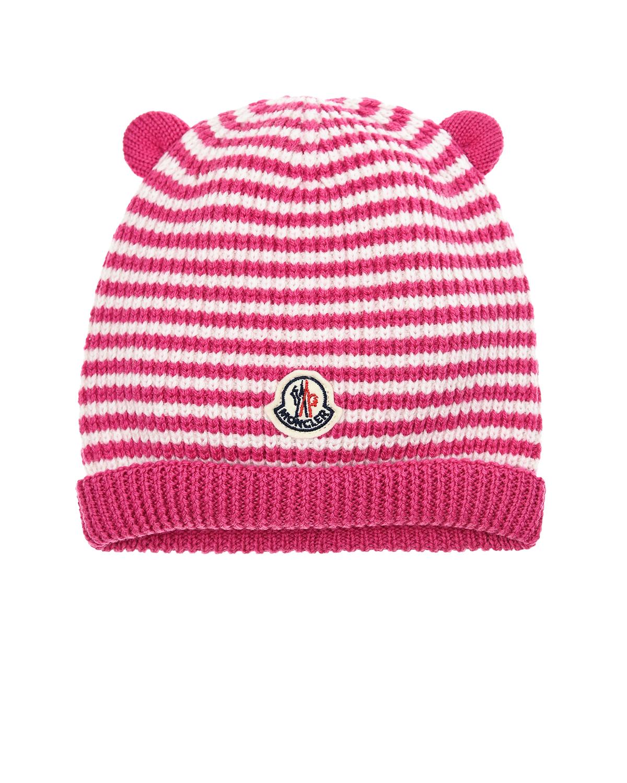 Купить Шапка с ушками в полоску Moncler детская, Розовый, 100%шерсть