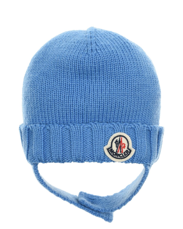 Голубая шапка из шерсти с завязками Moncler детская фото