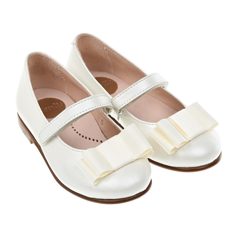 Купить Перламутровые туфли с бантом Beberlis детские, Белый, верх-90%нат.кожа+10%нейлон, подкладка и стелька-100%нат.кожа, подошва-100% термополиуретан