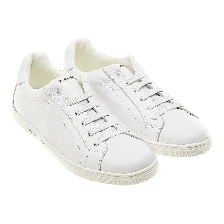 Купить Белые кеды с логотипом Dolce&Gabbana детские, Белый, верх-100%нат.кожа, подкладка и стелька-100%нат.кожа. подошва-100%резина