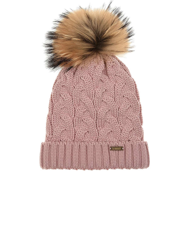 Купить Розовая шапка с меховым помпоном Il Trenino детская, Розовый, 100%шерсть, 100%полиэстер, нат.мех Енота