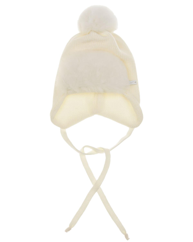 Купить Шерстяная шапка с меховым отворотом Il Trenino детская, Белый, 100% шерсть, мех Кролика