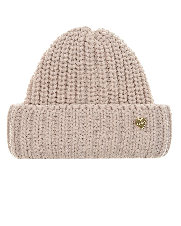Купить Бежевая базовая шапка Il Trenino детская, Бежевый, 100%шерсть