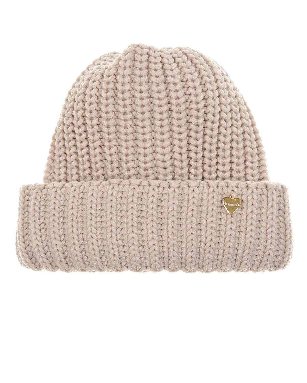 Купить Бежевая шапка с отвортом Il Trenino детская, Бежевый, 100%шерсть, 100%хлопок