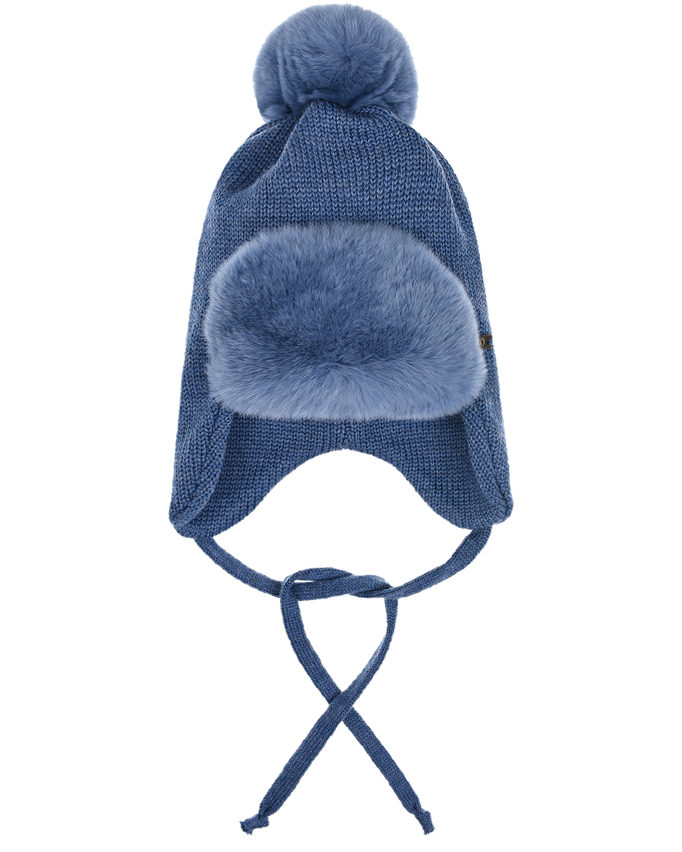 Купить Шерстяная шапка с меховым козырьком и помпоном Il Trenino детская, Синий, 100%шерсть, нат.мех