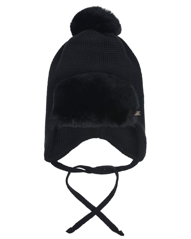 Купить Шерстяная шапка с меховым отворотом Il Trenino детская, Черный, 100%шерсть, нат.мех