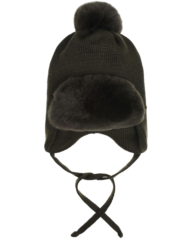 Купить Шерстяная шапка цвета хаки с меховым отворотом Il Trenino детская, Хаки, 100%шерсть, нат.мех