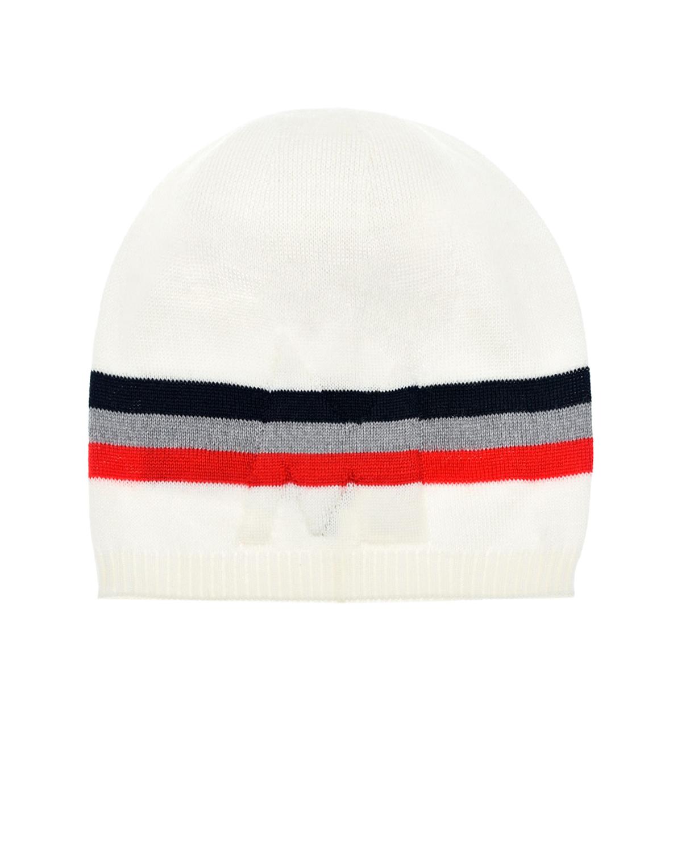 Купить Белая шапка с полосками Moncler детская, Белый, 100% шерсть