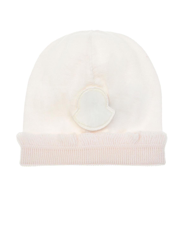 Белая шапка с рюшей Moncler детская, Белый, 100% шерсть  - купить со скидкой