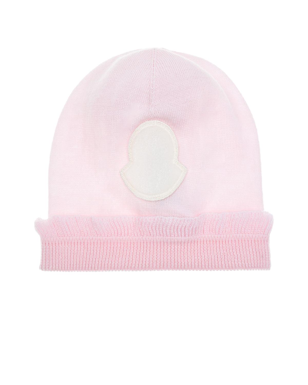 Купить Розовая шапка с рюшей Moncler детская, Розовый, 100% шерсть