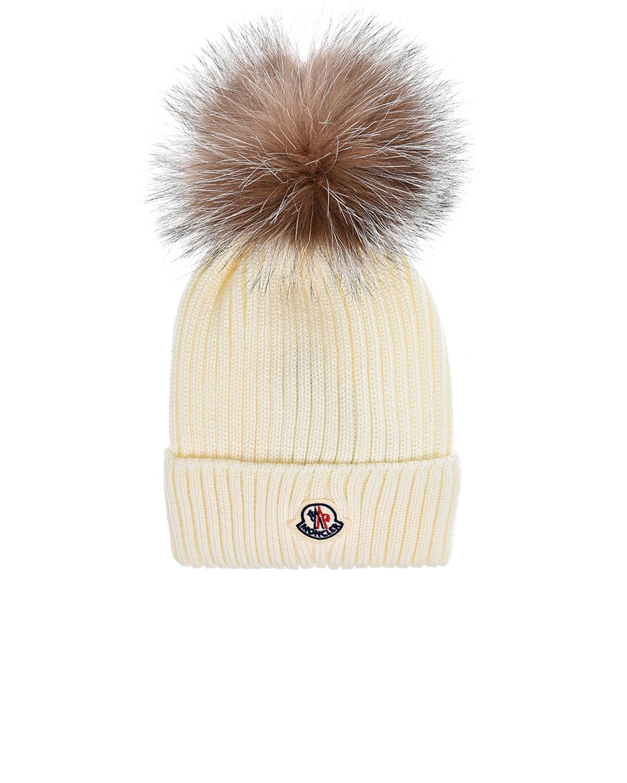 Купить Белая шапка с меховым помпоном Moncler детская, Белый, 100%шерсть, 100%нат.мех