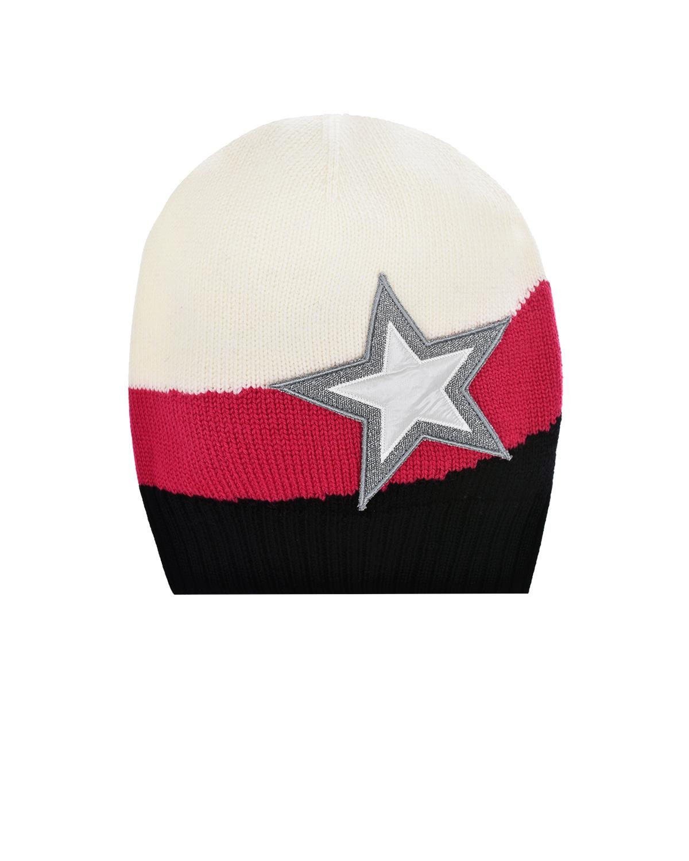 Купить Шерстяная шапка со звездой Moncler детская, Белый, 100%шерсть