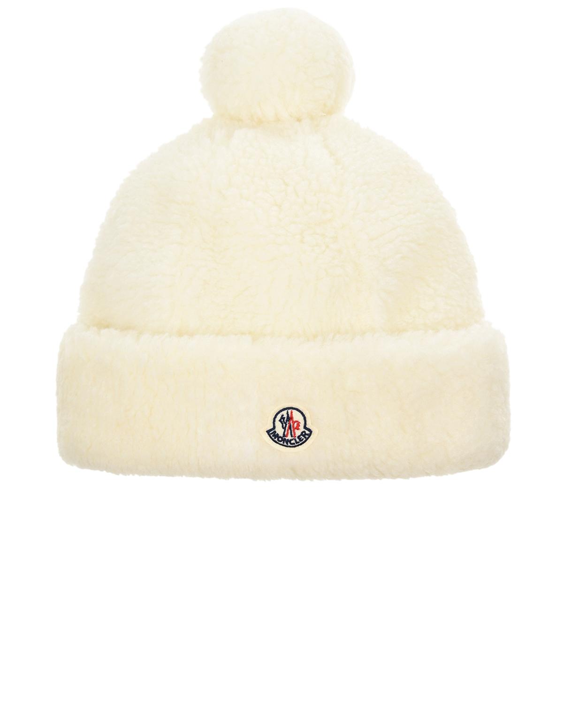 Купить Белая шапка с помпоном Moncler детская, Белый, 100%полиэстер, 100%хлопок