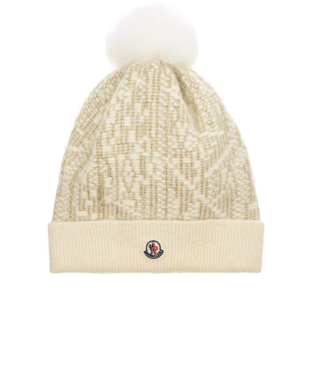 Купить Белая шапка с люрексом Moncler детская, Белый, 40%акрил+30%шерсть+30%альпака, 100%хлопок