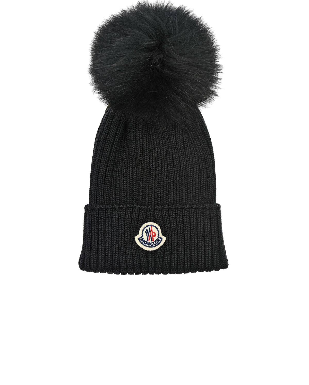 Купить Черная шапка из шерсти Moncler детская, Черный, 100%вирджинская шерсть