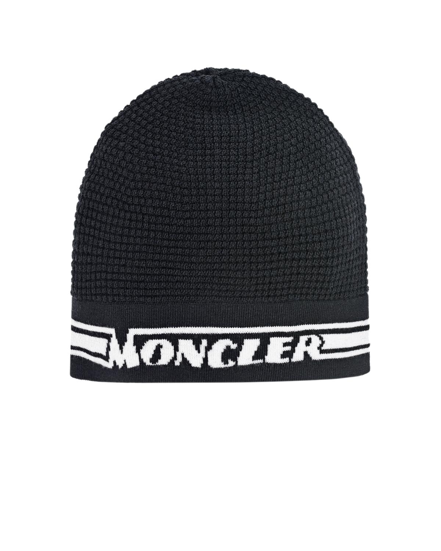 Купить Черная шапка из шерсти с логотипом Moncler детская, Черный, 100%шерсть