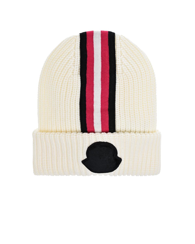 Купить Белая шапка с полосками Moncler детская, Белый, 100%шерсть