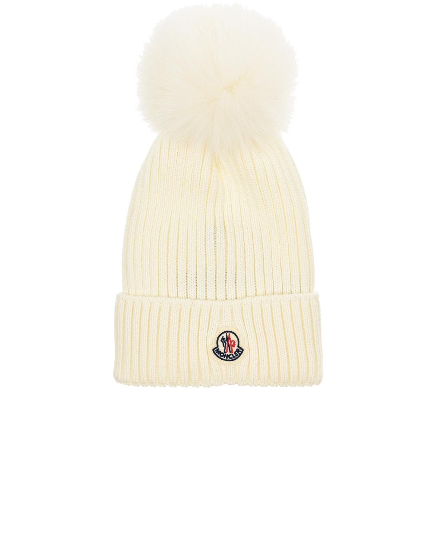 Купить Белая базовая шапка с помпоном Moncler детская, Белый, 100%шерсть