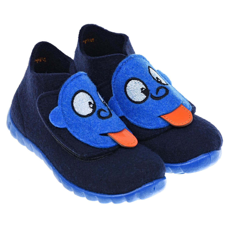 Темно-синие тапочки из войлока SUPERFIT детское.
