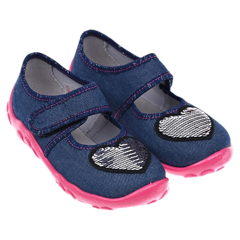 Купить Тапочки с сердцем из пайеток SUPERFIT детские, Синий, верх:текстиль(90%хлопок, 10%эластан), подкладка и стелька:100%текстиль, подошва:100%ПВХ