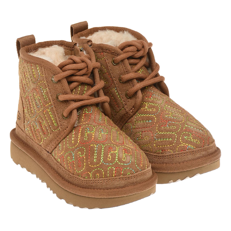 Купить Ботинки из замши с вышитым логотипом UGG детские, Коричневый, верх:98%нат.кожа, 2%нейлон, подкладка:100%шерсть, подошва:100%этиленвинилацетат