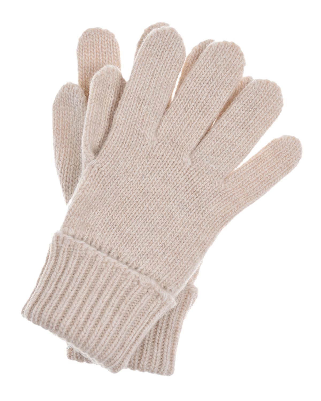 Купить Бежевые перчатки из шерсти и кашемира Il Trenino детские, Бежевый, 70%шерсть+30%кашемир
