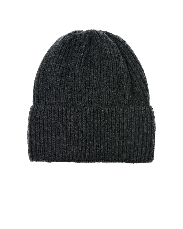 Купить Темно-серая шапка с отвортом CAPO детское, Серый, 95% кашемир+5% шерсть