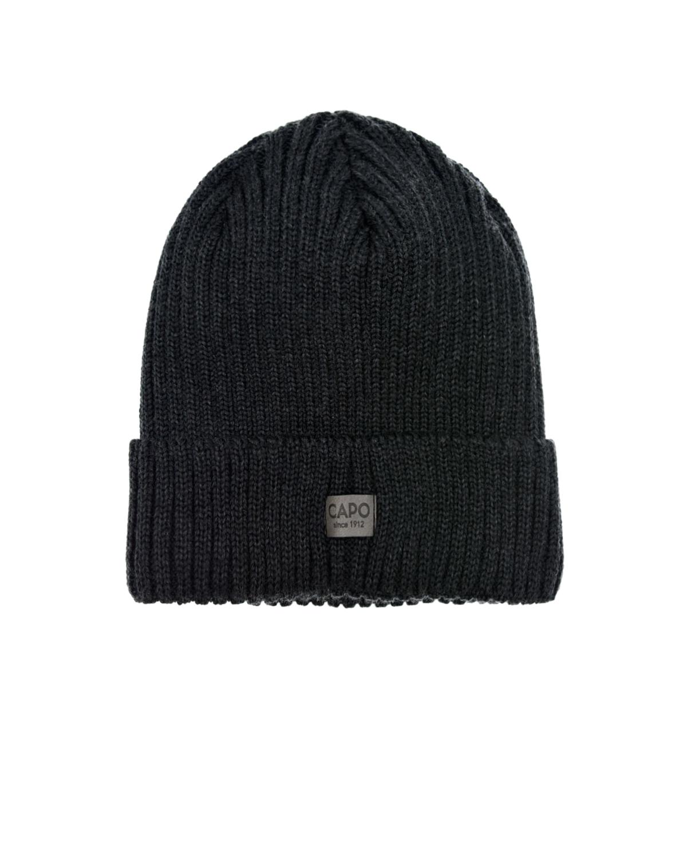 Купить Темно-серая шапка с логотипом CAPO детское, Черный, 100% шерсть, 100% полиэстер