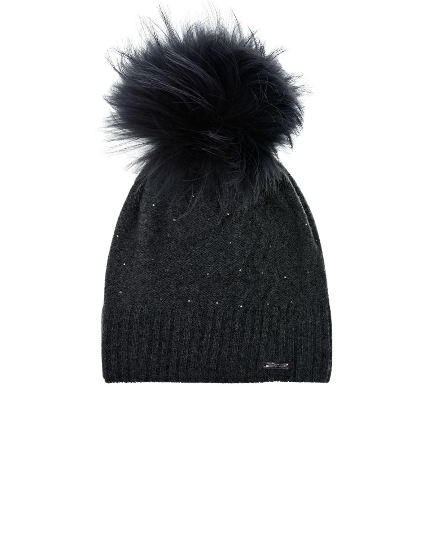 Купить Темно-серая шапка из кашемира и шерсти CAPO детское, Серый, 95% кашемир+5% шерсть, 100% полиэстер