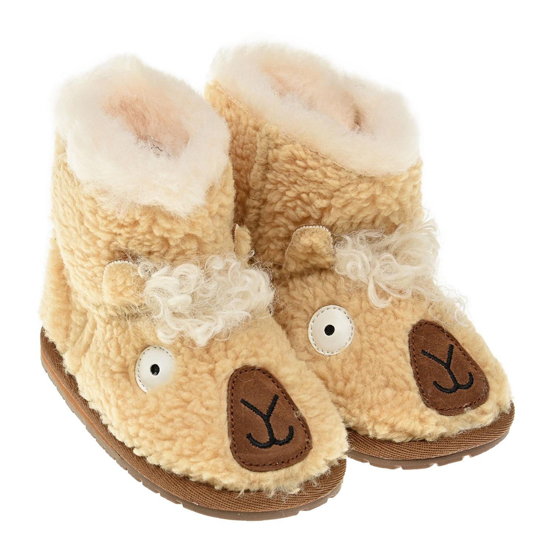 Купить Угги с декором овечка EMU Australia детские, Коричневый, верх:100%текстиль, подкладка и стелька:100%натуральная шерсть, подошва:100%резина/полимер