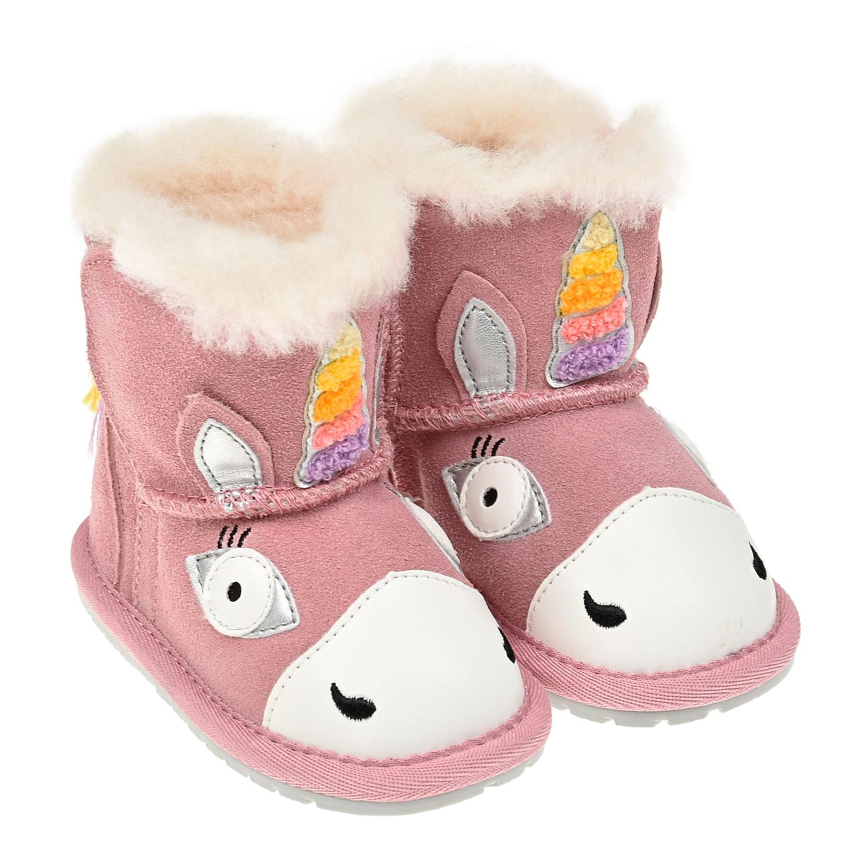 Купить Розовые угги единорог EMU Australia детские, Розовый, верх:100%замша, подкладка и стелька:100%натуральная шерсть, подошва:100%резина/полимер
