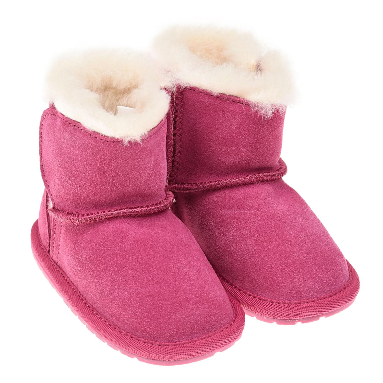 Купить Угги цвета фуксии EMU Australia детские, Розовый, верх:100%замша, подкладка и стелька:100%натуральная шерсть, подошва:100%резина/полимер
