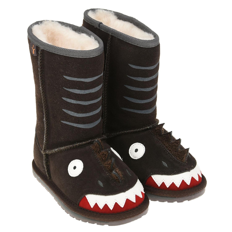 Купить Коричневые угги акула EMU Australia детские, Коричневый, верх:100%замша, подкладка и стелька:100%натуральная шерсть, подошва:100%резина/полимер