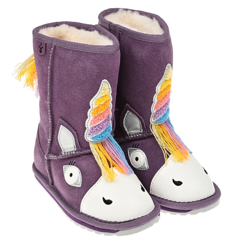 Купить Фиолетовые угги единорог EMU Australia детские, Фиолетовый, верх:100%замша, подкладка и стелька:100%натуральная шерсть, подошва:100%резина/полимер