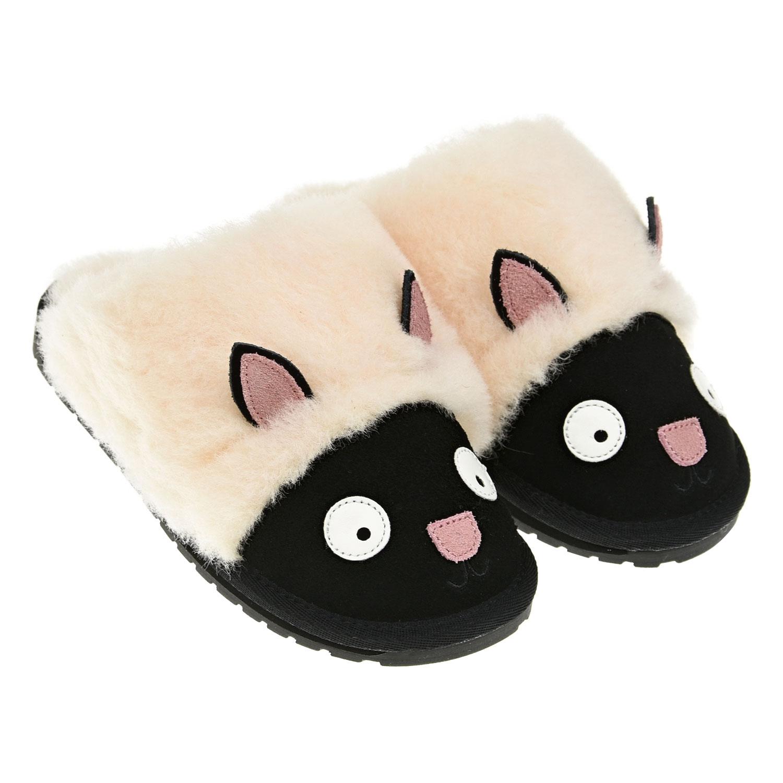 Купить Тапочки овечка EMU Australia детские, Черный, верх:90%натуральная шерсть+10%замша, подкладка и стелька:100%натуральная шерсть, подошва:100%резина/полимер