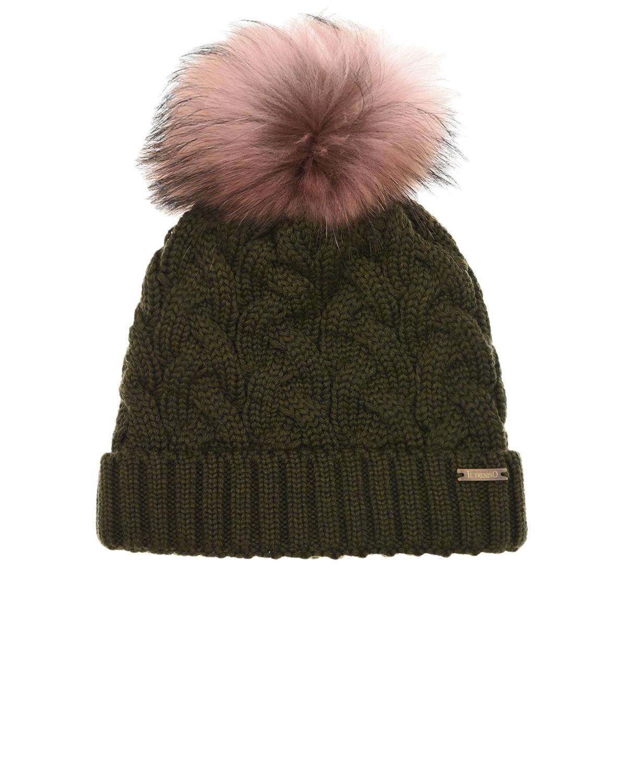 Купить Шерстяная шапка цвета хаки с меховым помпоном Il Trenino детская, Хаки, 100% шерсть, нат.мех Енота