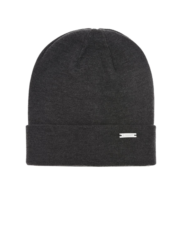 Купить Темно-серая шапка из шерсти с отворотом Il Trenino детское, Серый, 100%шерсть