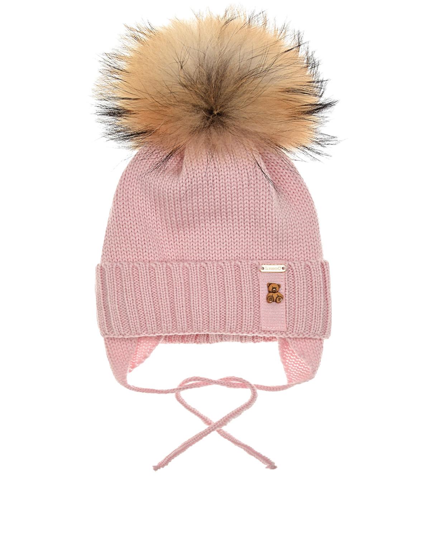 Купить Розовая шапка с патчем медвежонок Il Trenino детская, Розовый, 100%шерсть, 100%хлопок, нат.мех Енота
